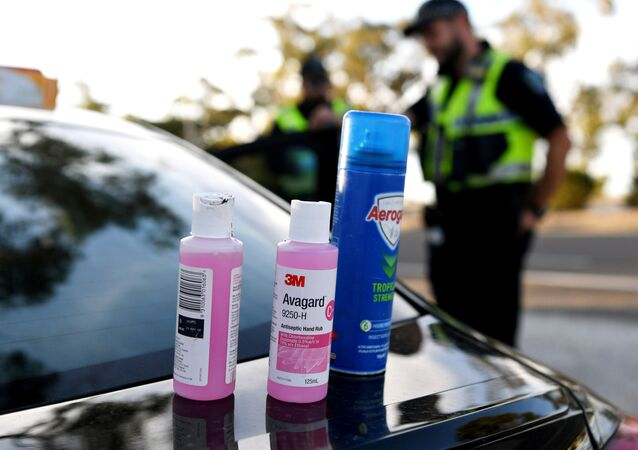 Disinfectant products are seen on a car whilst motorists fill out paperwork for police as they cross back into South Australia from Victoria during the coronavirus disease (COVID-19) outbreak, in Bordertown, Australia, March 24, 2020.