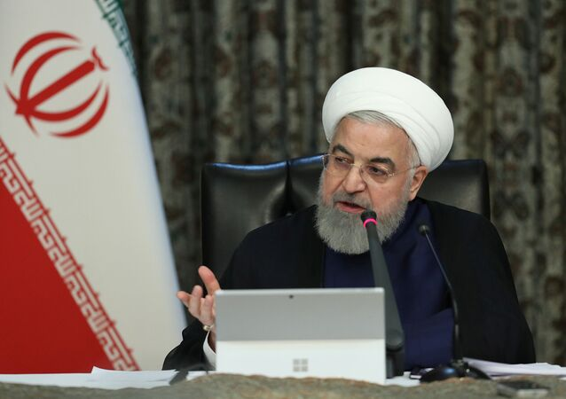 Iranian President Hassan Rouhani speaks during a meeting of the Iranian government task force on the coronavirus, in Tehran, Iran, March 21, 2020