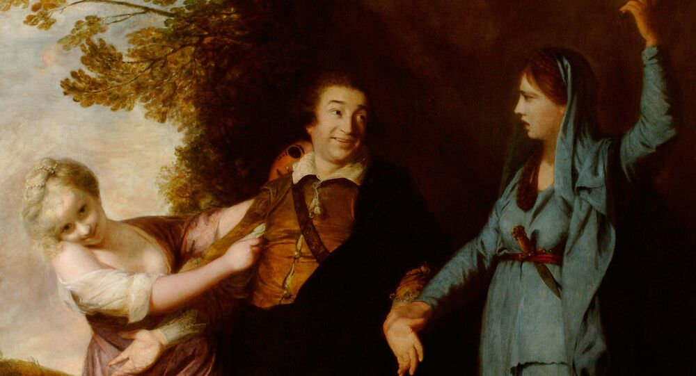 David Garrick between Tragedy and Comedy by Joshua Reynolds