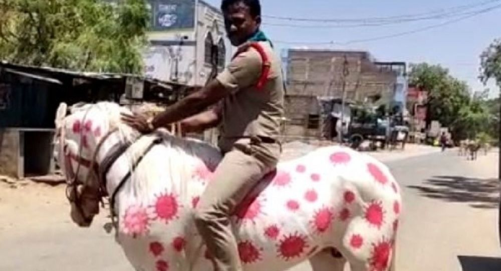 Indian cops now painting horses to spread awareness around coronavirus in India