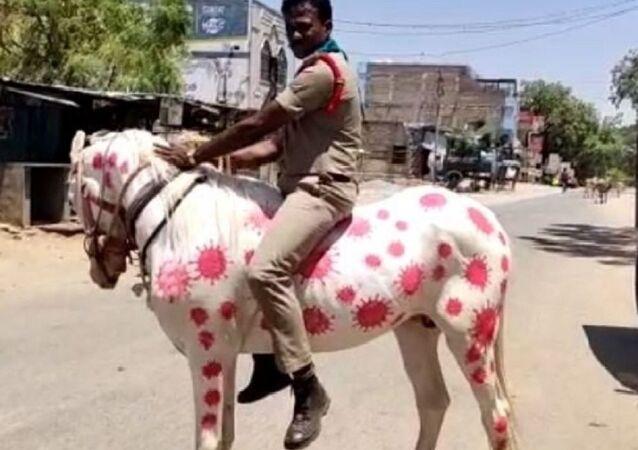 Indian cops now painting horses to spread awareness around coronavirus in India
