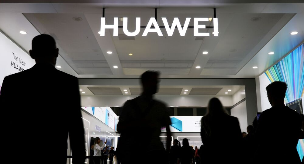 The Huawei logo is pictured at the IFA consumer tech fair in Berlin, Germany, September 6, 2019
