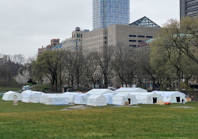 A field hospital is set up by Samaritan's Purse, a Christian humanitarian aid organization, and FEMA  at the East Meadow in Central Park amid a coronavirus disease (COVID-19) outbreak in New York City, U.S., March 30, 2020
