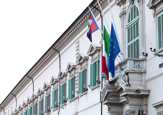 The Italian and EU flags fly at half mast as a sign of mourning for the victims of the coronavirus disease (COVID-19), at Palazzo del Quirinale, Rome, Italy 31 March 2020.