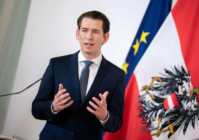 Austrian Chancellor Sebastian Kurz attends a news conference in Vienna, Austria, March 26, 2020