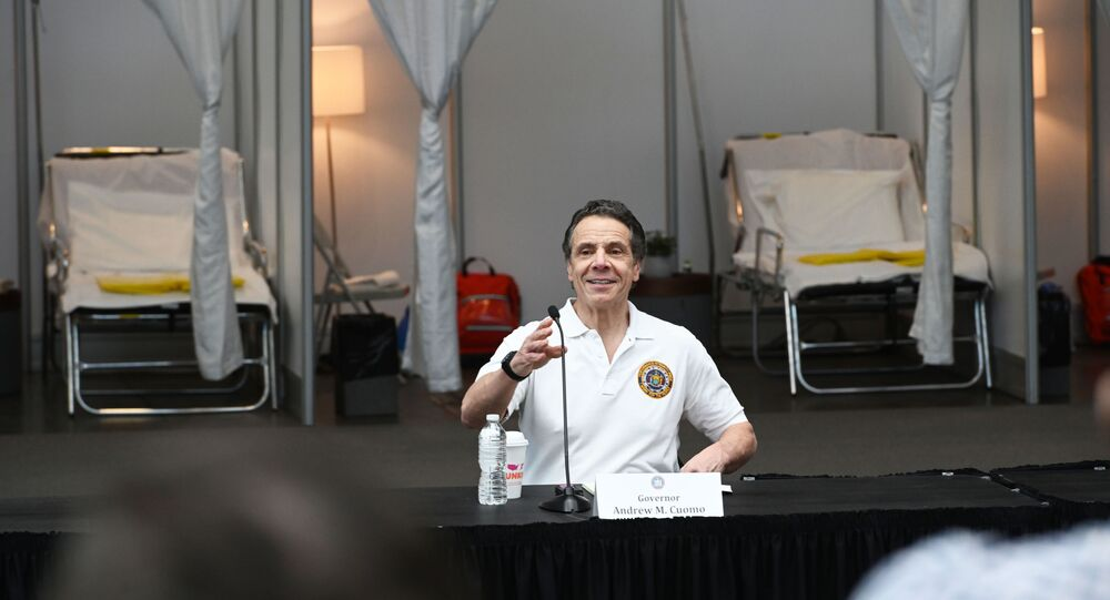 Governor Andrew M. Cuomo gives a COVID-19 Coronavirus update at the Javits Center in New York City, 27 March 2020