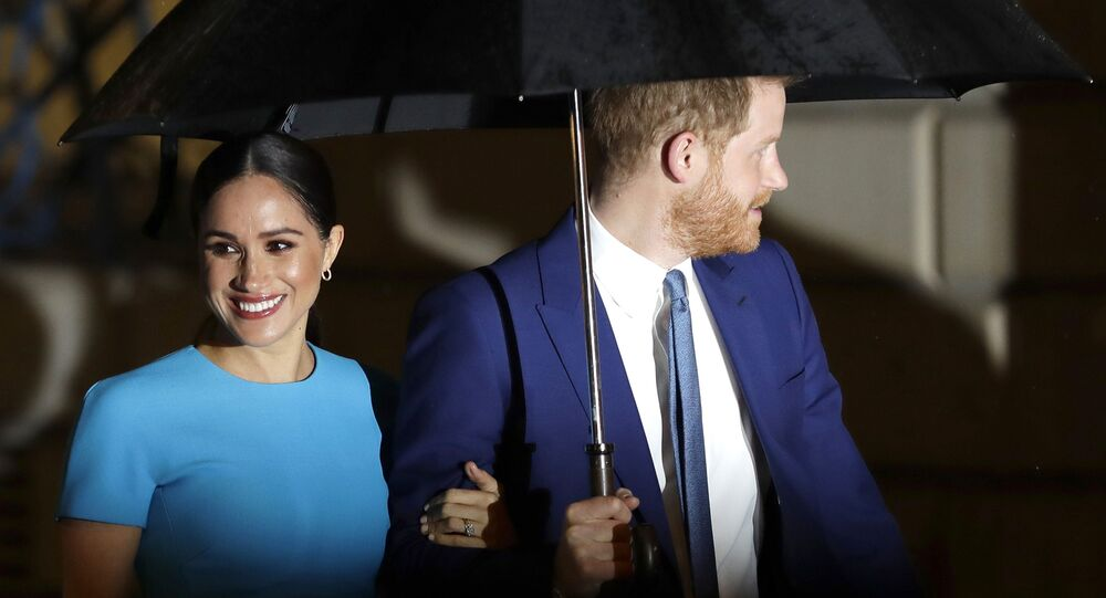 Britain's Prince Harry and Meghan, the Duke and Duchess of Sussex arrive at the annual Endeavour Fund Awards in London, Thursday, March 5, 2020. The awards celebrate the achievements of service personnel who were injured in service and have gone on to use sport as part of their recovery and rehabilitation