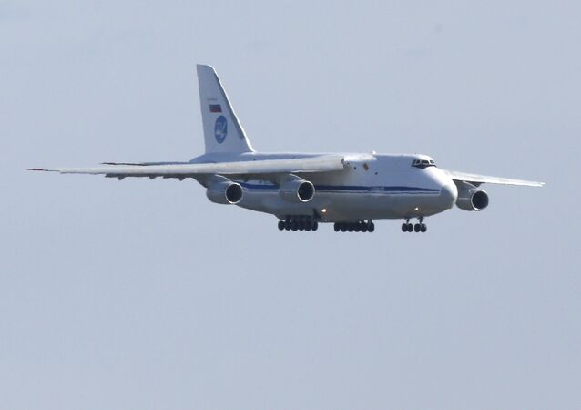A Russian military transport plane carrying medical equipment, masks and supplies lands at JFK International Airport during the outbreak of the coronavirus disease (COVID-19) in New York City, New York, U.S., April 1, 2020