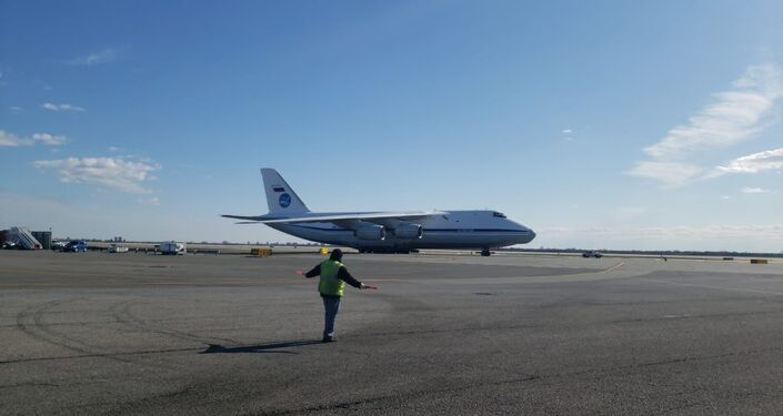 A Russian military cargo aircraft carrying medical supplies and equipment to the United States on 1 April 2020