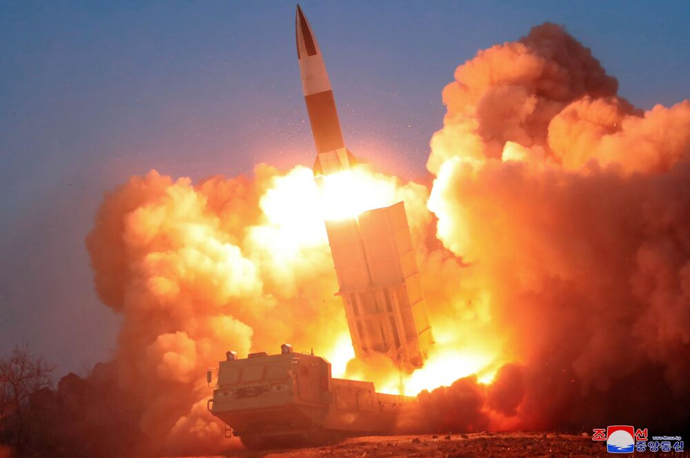A missile is fired, in this image released by North Korea's Korean Central News Agency (KCNA) on 22 March 2020.