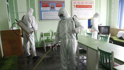 Offices at the Phyongchon District People's Hospital are disinfected on Wednesday, 1 April 2020, in Pyongyang, North Korea.