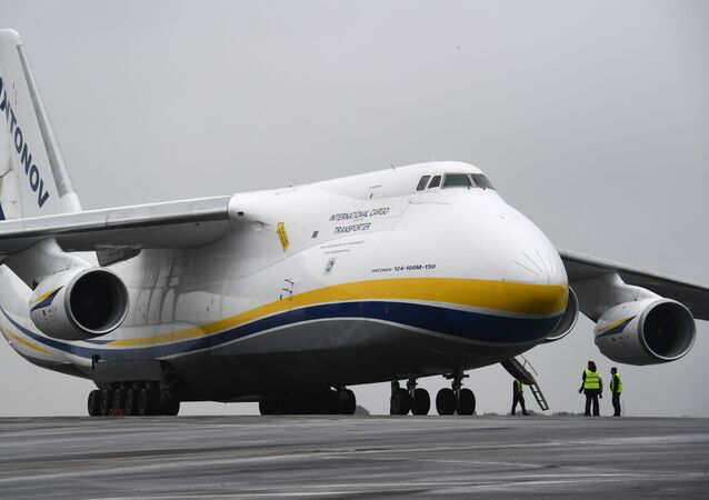 A Russian made Antonov An-124, one of the biggest cargo planes in the world, is pictured on May 29, 2019, on the tarmac of the airport in Brest, Western France.