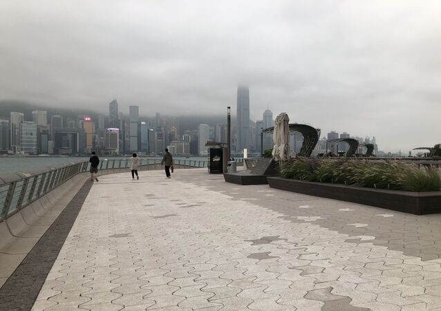 Hong Kong's iconic Avenue of Stars almost deserted after the city's complete ban on non-resident entry.