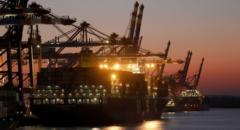 A container ship is moored at the Eurogate container terminal in the German city of Hamburg on 26 March 2020.