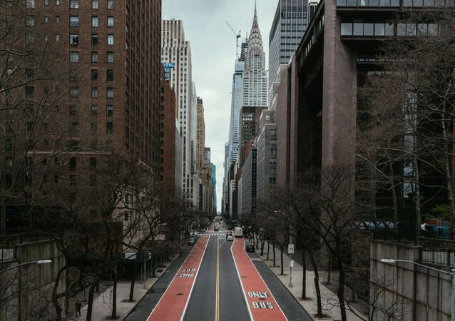 Empty street in downtown New York