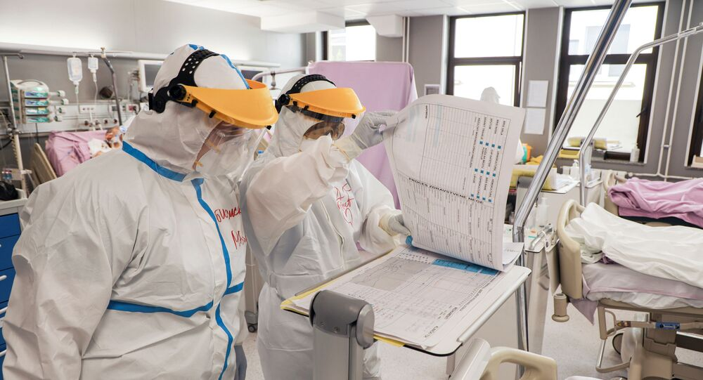Medical staff work inside intensive care of the Vojvodina clinical centre with patients suffering from coronavirus disease (COVID-19) in Novi Sad, Serbia, April 2, 2020