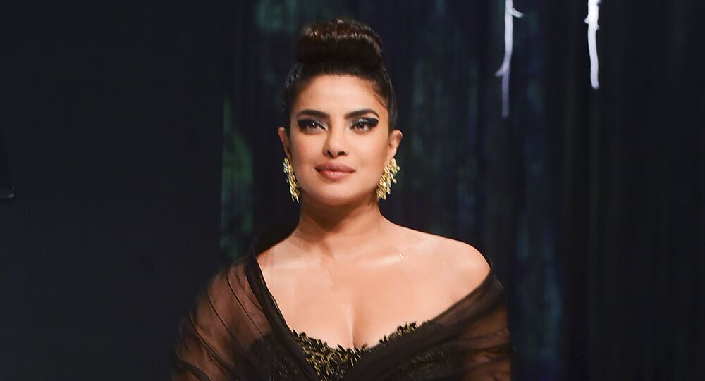 In this picture taken on February 22, 2020 Bollywood actress Priyanka Chopra Jonas poses for a picture during the 15th edition of the Blenders Pride Fashion Tour in Mumbai.