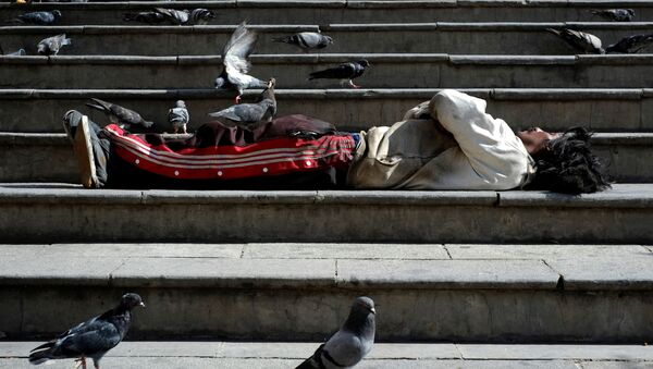 A homeless man surrounded by pigeons lies on the stairs at the Plaza San Francisco in La Paz, Bolivia, 8 March 2020 - Sputnik International