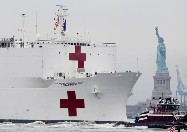The USNS Comfort passes the Statue of Liberty as it enters New York Harbor during the outbreak of the coronavirus disease (COVID-19) in New York City, U.S., March 30, 2020