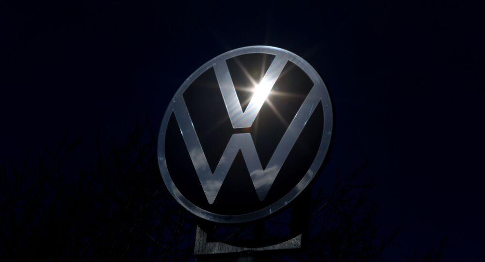 The logo of German car maker Volkswagen The logo of German car maker Volkswagen in Wolfsburg