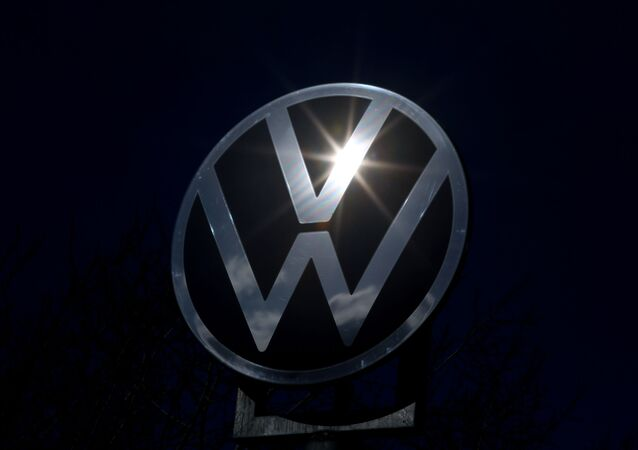 The logo of German car maker Volkswagen The logo of German car maker Volkswagen in Wolfsburg