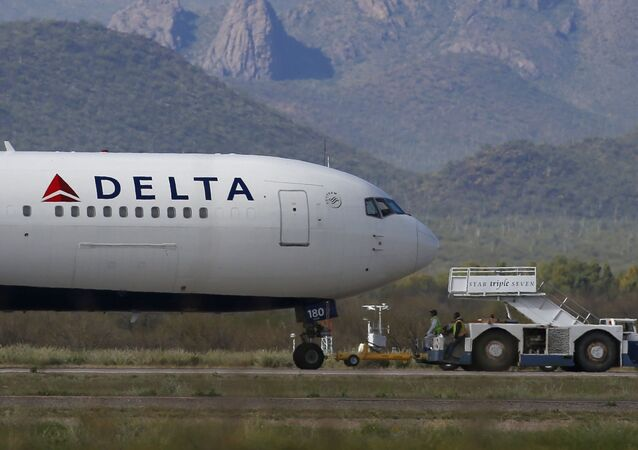 Delta Air Lines airplane at Pinal Airpark in Red Rock, Ariz
