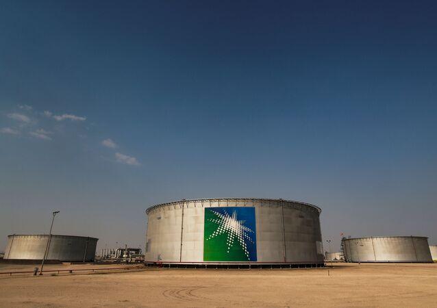 A view shows branded oil tanks at Saudi Aramco oil facility in Abqaiq, Saudi Arabia October 12, 2019