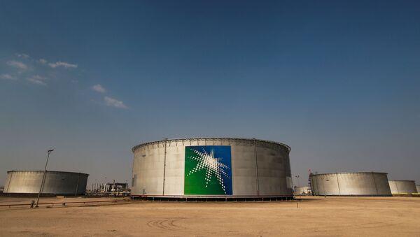 A view shows branded oil tanks at Saudi Aramco oil facility in Abqaiq, Saudi Arabia October 12, 2019 - Sputnik International