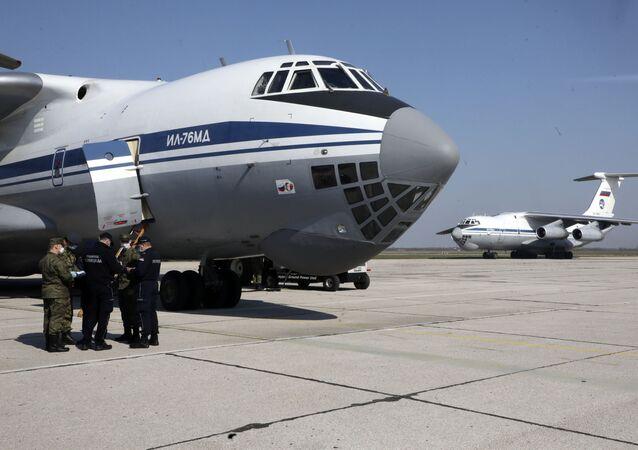 Russian military transport planes at Batajnica military airport near Belgrade