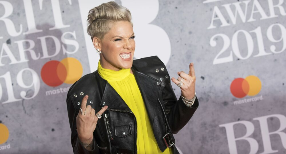 Singer Pink poses for photographers upon arrival at the Brit Awards in London, 20 February 2019