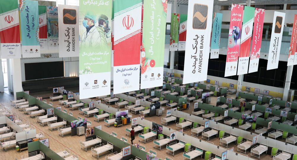 A view of beds at a shopping mall, one of Iran's largest, which has been turned into a centre to receive patients suffering from the coronavirus disease (COVID-19), in Tehran, Iran, April 4, 2020