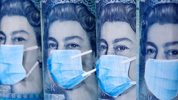Queen Elizabeth II is seen with printed medical masks on the Pound banknotes in this illustration taken, March 31, 2020.  - Sputnik International