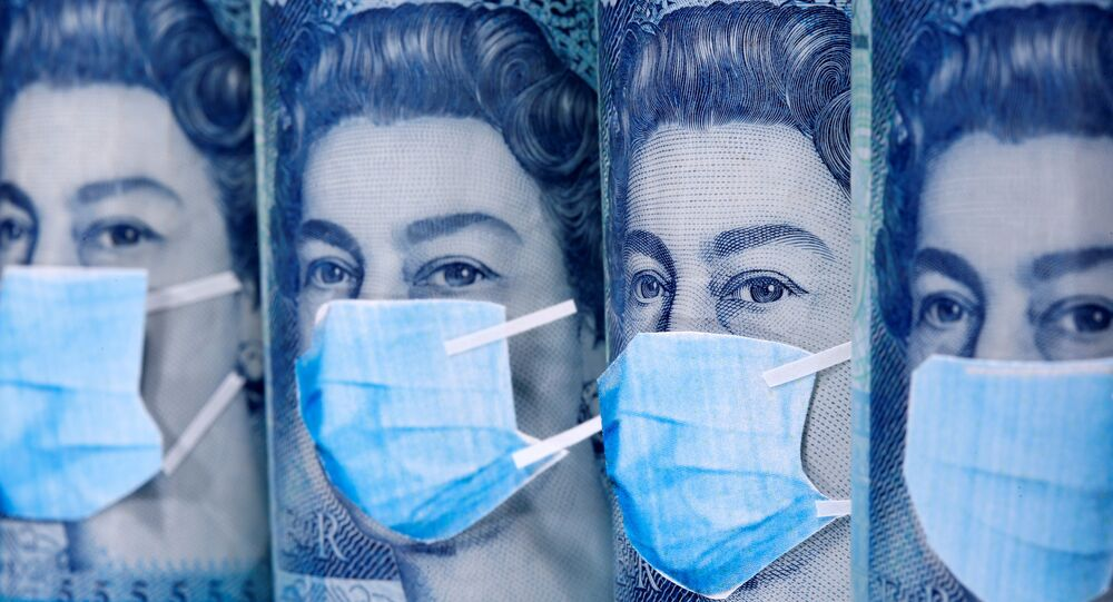 Queen Elizabeth II is seen with printed medical masks on the Pound banknotes in this illustration taken, March 31, 2020.