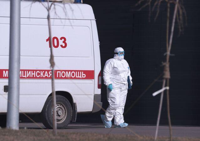 An ambulance near Russian hospital for coronavirus treatment in Kommunarka, Moscow.