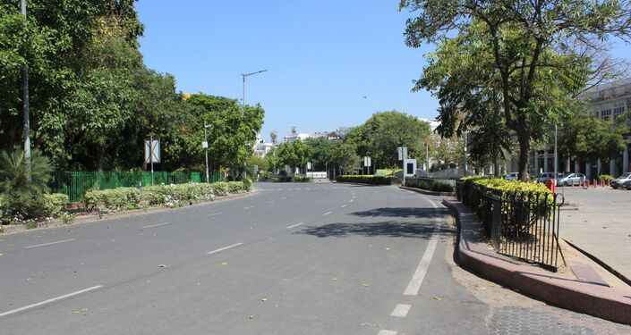 The normally busy inner circle of Rajiv Chowk in the heart of the Indian capital is deserted now due to the lockdown.