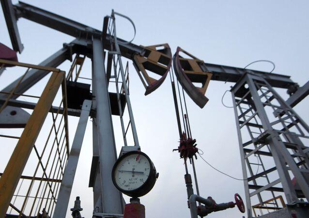 Oil pumpjack in the Republic of Tatarstan, Russia
