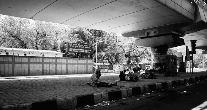 The poor are sometimes compelled to come out despite a 21-day lockdown in Delhi.