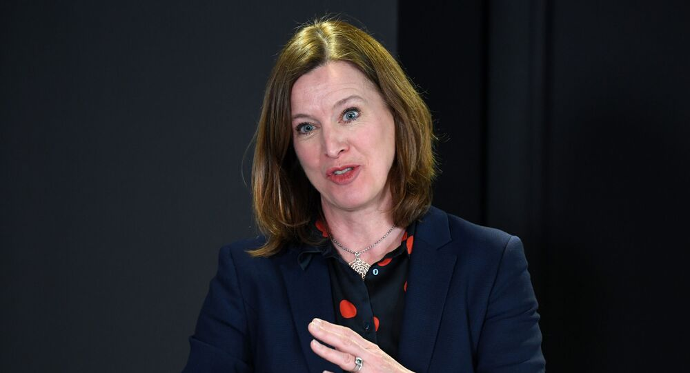 In this file photo taken on March 26, 2020 Chief Medical Officer for Scotland, Catherine Calderwood gestures as she holds a briefing on the novel coronavirus COVID-19 outbreak in Edinburgh