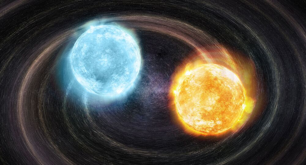 An artist's visualization of the first confirmed double helium-core white dwarf gravitational source.