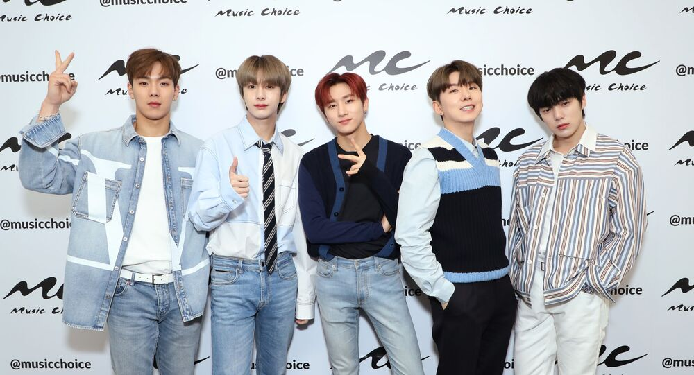 NEW YORK, NEW YORK - FEBRUARY 21: (EXCLUSIVE COVERAGE) Shownu, Hyungwon, I.M, Kihyun, and Minhyuk pose as Monsta X Visits Music Choice at Music Choice on February 21, 2020 in New York City