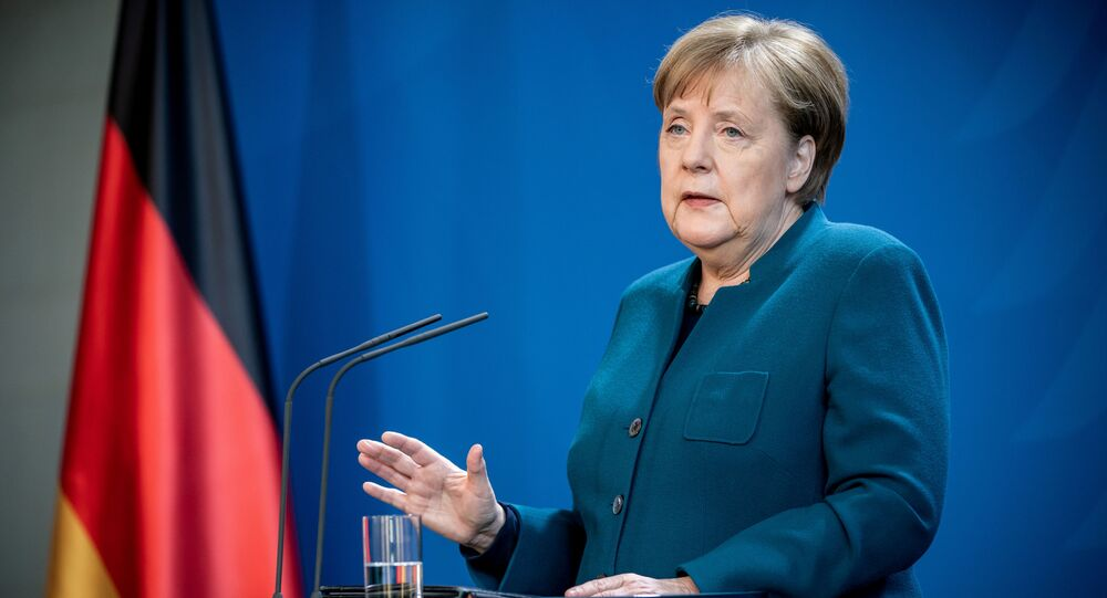 German Chancellor Angela Merkel gives a media statement on the spread of the new coronavirus disease (COVID-19) at the Chancellery in Berlin, Germany, March 22, 2020