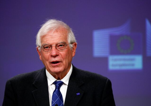 European High Representative for Foreign Affairs and Security Policy and Vice-President of the European Commission Josep Borrell, holds a virtual news conference on the approval of Operation Irini, at the European Commission in Brussels, Belgium March 31, 2020.