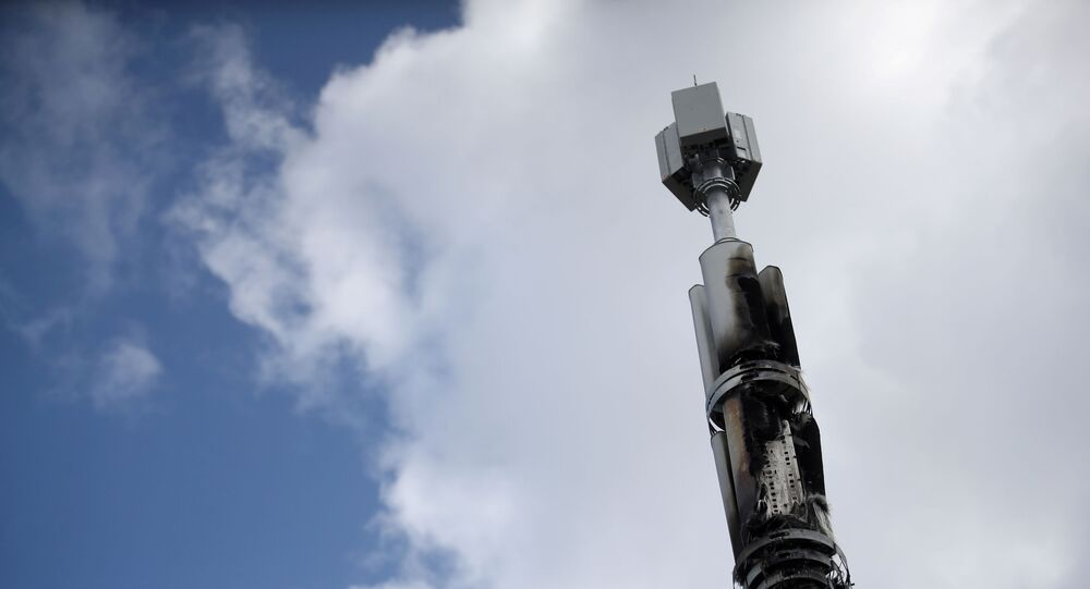 A telecommunications mast damaged by fire is seen in Sparkhill, masts have in recent days been vandalised amid conspiracy theories linking the coronavirus disease (COVID-19) and 5G masts, Birmingham, Britain, April 6, 2020.