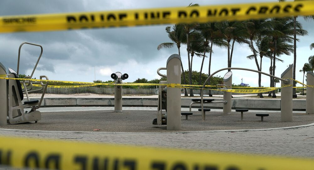 Police tape is seen around a closed outdoor workout area on April 06, 2020 in Miami Beach, Florida. The city administrators have closed hotels, asked restaurants to only serve take-out and shut beaches and parks in an attempt to contain COVID-19.