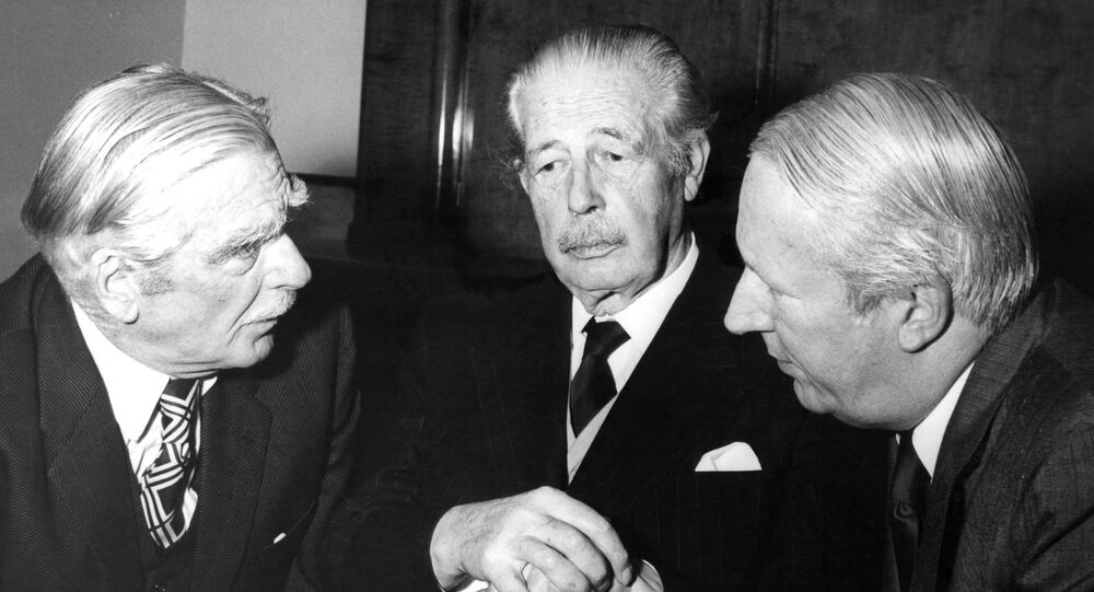 Britain's then Prime Minister Edward Heath, right, with former Prime Ministers Anthony Eden, left, and Harold Macmillan in 1973.