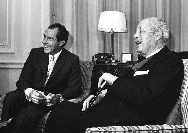 US President Richard Nixon, left, enjoys a joke with former British Prime Minister Harold MacMillan in 1969.