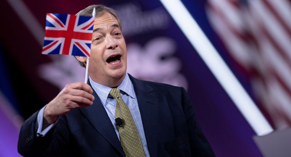 Leader of the BREXIT party Nigel Farage waves the Union Jack flag as he arrives to speak during the American Conservative Union's Conservative Political Action Conference (CPAC) on February 28, 2020, in Washington, District of Columbia