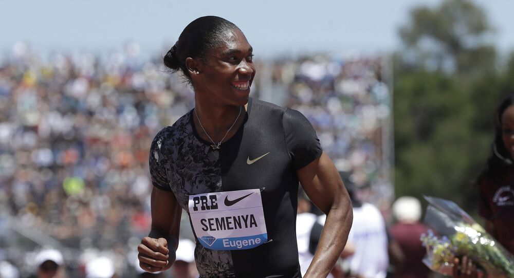 FILE - In this June 30, 2019 file photo, South Africa's Caster Semenya smiles after winning the women's 800-meter race during the Prefontaine Classic, an IAAF Diamond League athletics meeting, in Stanford, Calif.