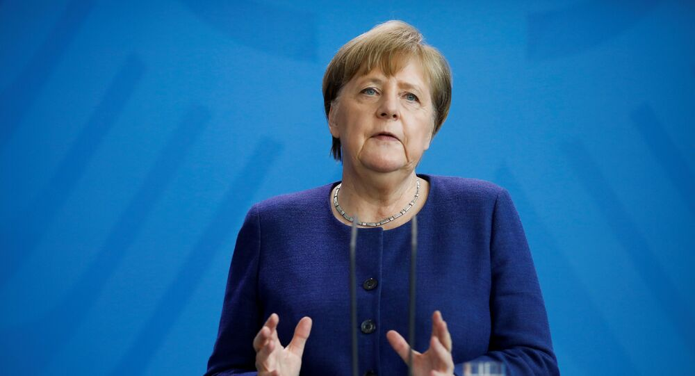 German Chancellor Angela Merkel talks about measures taken by the government to stop further spread of the coronavirus disease (COVID-19), during a briefing at the chancellery in Berlin, Germany April 6, 2020
