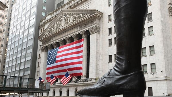 In this file photo a view of the New York Stock Exchange is seenon Wall Street on March 23, 2020 in New York City. - Wall Street stocks opened higher April 7, 2020, surging for a second straight session amid hopes governments are making progress in combatting the spread of the coronavirus. About five minutes into trading, the Dow Jones Industrial Average stood at 23,469.83, up nearly 800 points or 3.5 percent.The broad-based S&P 500 jumped 3.1 percent to 2,744.91, while the tech-rich Nasdaq Composite Index gained 2.6 percent to 8,115.27. - Sputnik International